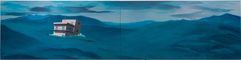 Yorgo Alexopoulos,  How We Got Here,  2017, oil on canvas, 72 x 288 inches (183 x 731.5 cm)
