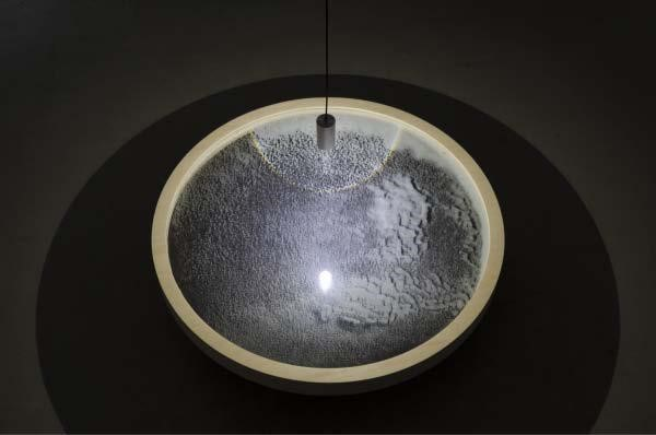 "Scry, 2013, glass microsopheres, maple plywood, LED pendant, 48"" diameter x 1"""