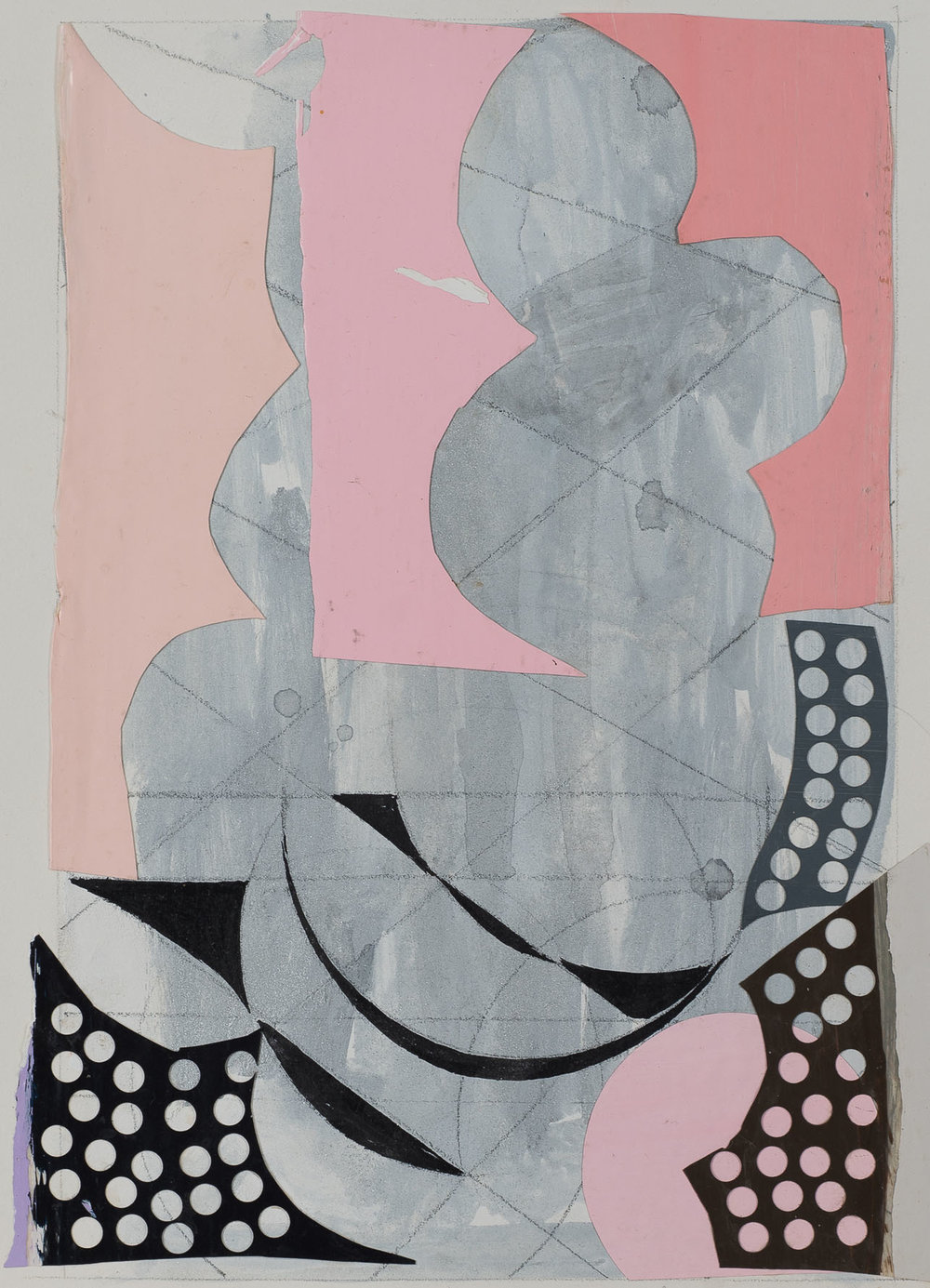 Peter Young,  #44 - 1989 , 1989, Acrylic and collage on paper, 15 x 11 1/2 inches (38.1 x 29.2 cm)