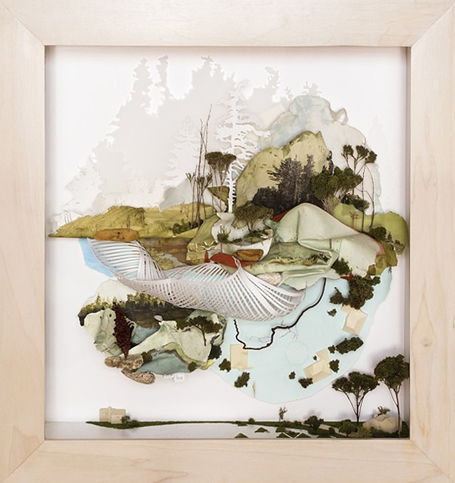 Gregory Euclide,  Then wanting came to mean touching without was normal,  2012, acrylic, buckthorn root, eurocast, fern, grass, moss, mylar, paper, pencil, photo transfer, sage, sedum, sponge, 26 x 24 x 6 inches (66 x 61 x 15.5 cm)
