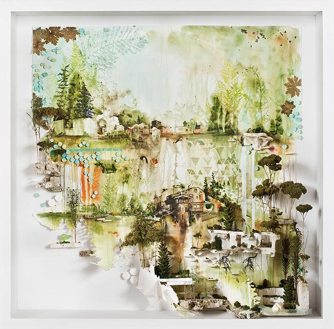 Gregory Euclide ,   Slid down my front as the rust from lands new soaking,  2012, acrylic, found foam, geranium, pine cone, buckthorn root, sponge, sedum, hosta, moss, photo transfer, pencil, goldenrod, heuchera, 49 x 49 x 9 inches (124.5 x 124.5 x 23 cm)