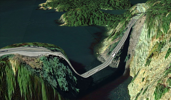 """Clement Valla ,   Postcards from Google Earth (48°24'30.97""""N 122°38'44.92""""W)(deception pass),  2010, archival pigment inkjet prints, 40 x 23 inches (101.5 x 58.5 cm), Edition of 5"""