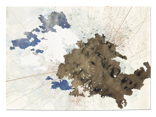 Val Britton,  Panorama,  2016, ink, acrylic, and collage on paper, 67 x 94 inches (170.2 x 238.8 cm)