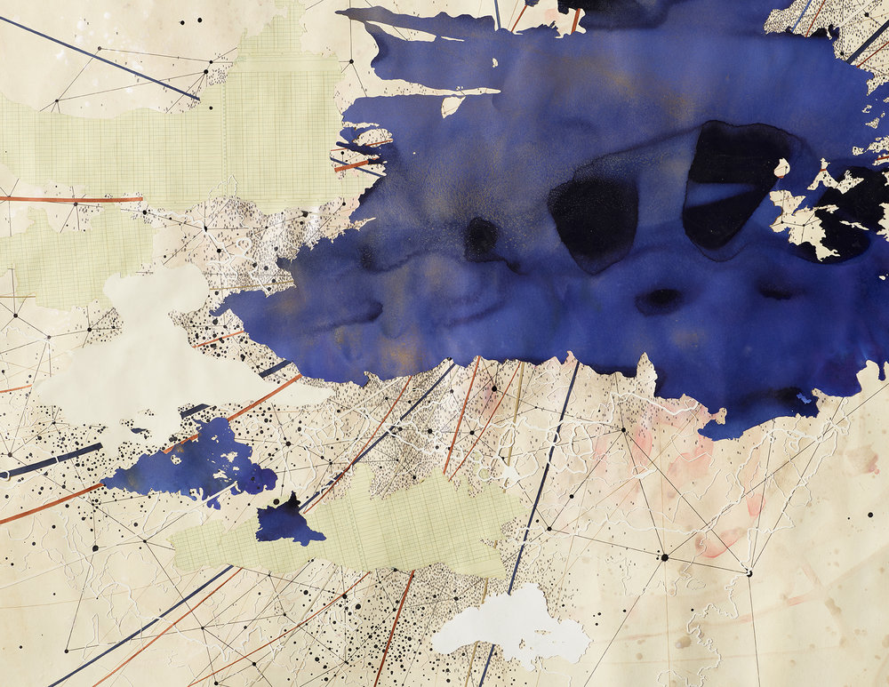 Val Britton,  Dream in Blue,  (detail), 2018, acrylic, ink, graphite, and collage, 60 x 72 inches (152.4 x 182.9 cm)