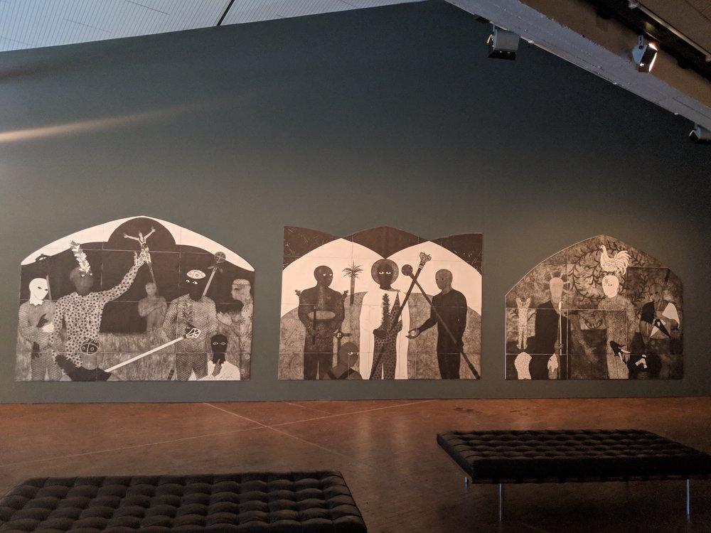 Belkis Ayón, (left) La consagración (Die Weihe, The Consecration) 1991, Triptych, part I; (middle) La consagración (Die Weihe, The Consecration) 1991, Triptych, part II; (right) La consagración (Die Weihe, The Consecration) 1991, Triptych, part III. Photo: C&.