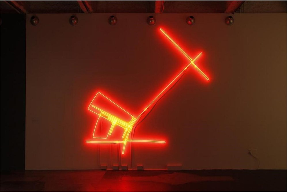 Omar Mismar.  The Path of Love #03 , 2013-2014; Neon; 126 x 126 in. Courtesy of the Artist and Gallery Wendi Norris, San Francisco.