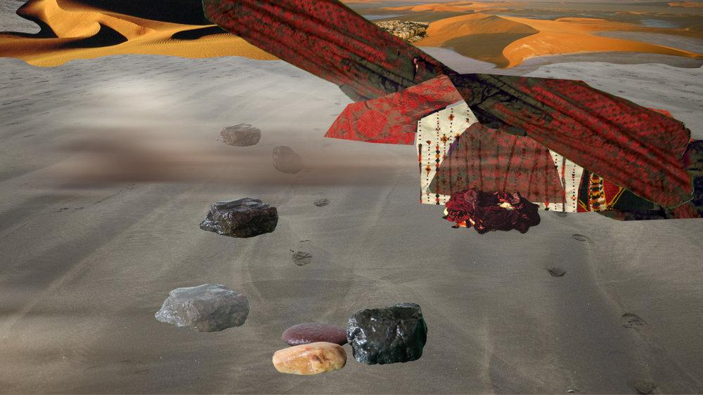 Ranu Mukherjee's video  color of history – sweating rocks  (2011)