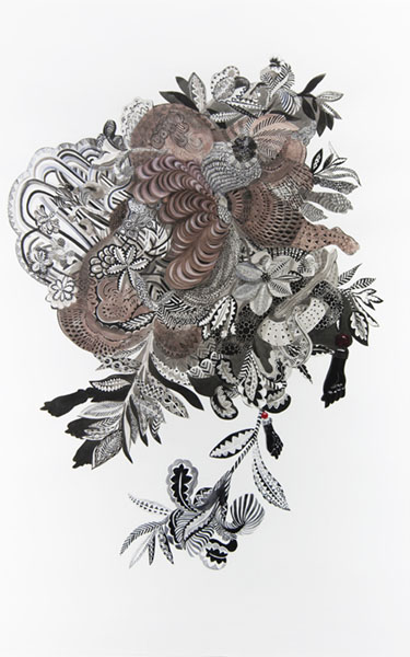Firelei Báez,  Becoming what you can't see,  2015, Gouache and ink on paper, 86 x 55 inches (218.5 x 139.7 cm)