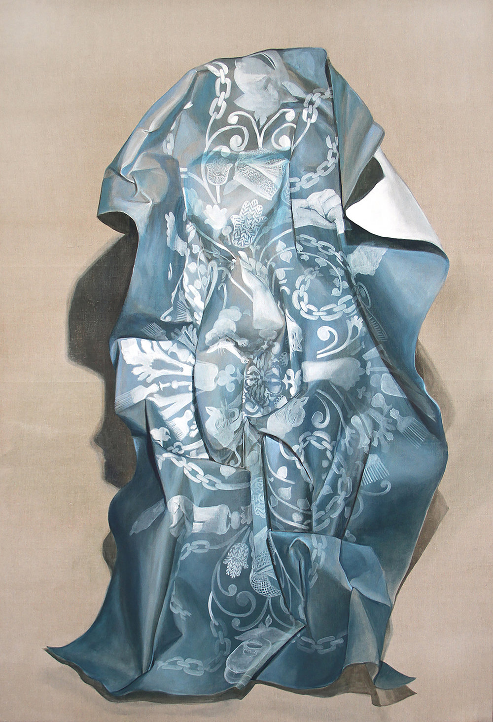 Firelei Báez,  Winged Victory,  2015, Acrylic and ink on linen, 108 x 74 inches (274.3 x 188 cm)