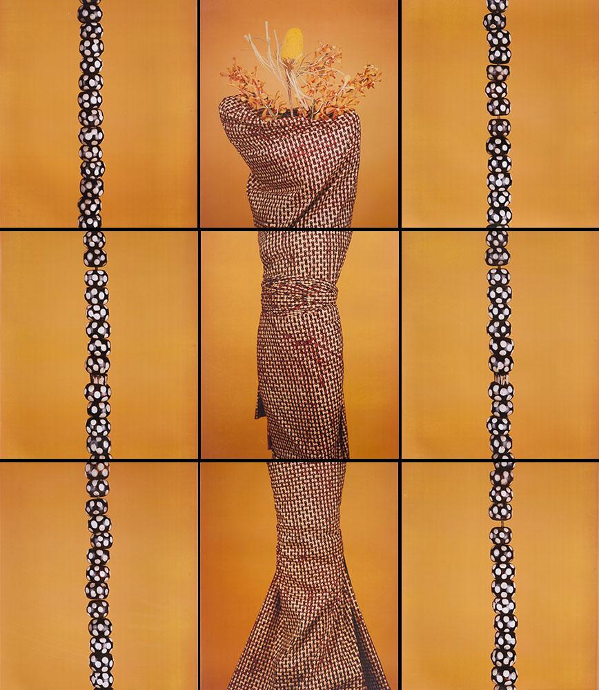 María Magdalena Campos-Pons,  Classic Creole,  2003, Composition of 9, Polaroid Polacolor Pro, 24 x 20 photograph, 72 x 110 inches (182.9 x 279.4 cm)