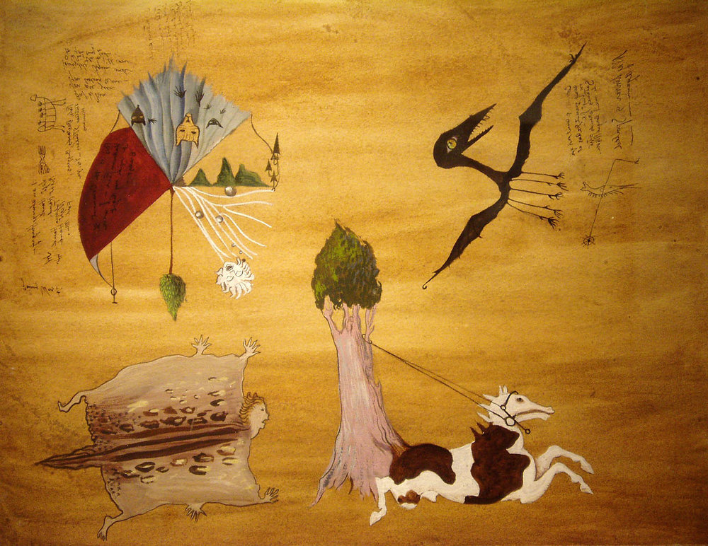 Leonora Carrington,  Untitled,  1942, Gouache, ink and graphite on paper, 9 1/2 x 12 3/8 inches (24 x 31 cm), © 2019 Estate of Leonora Carrington / Artists Rights Society (ARS), New York