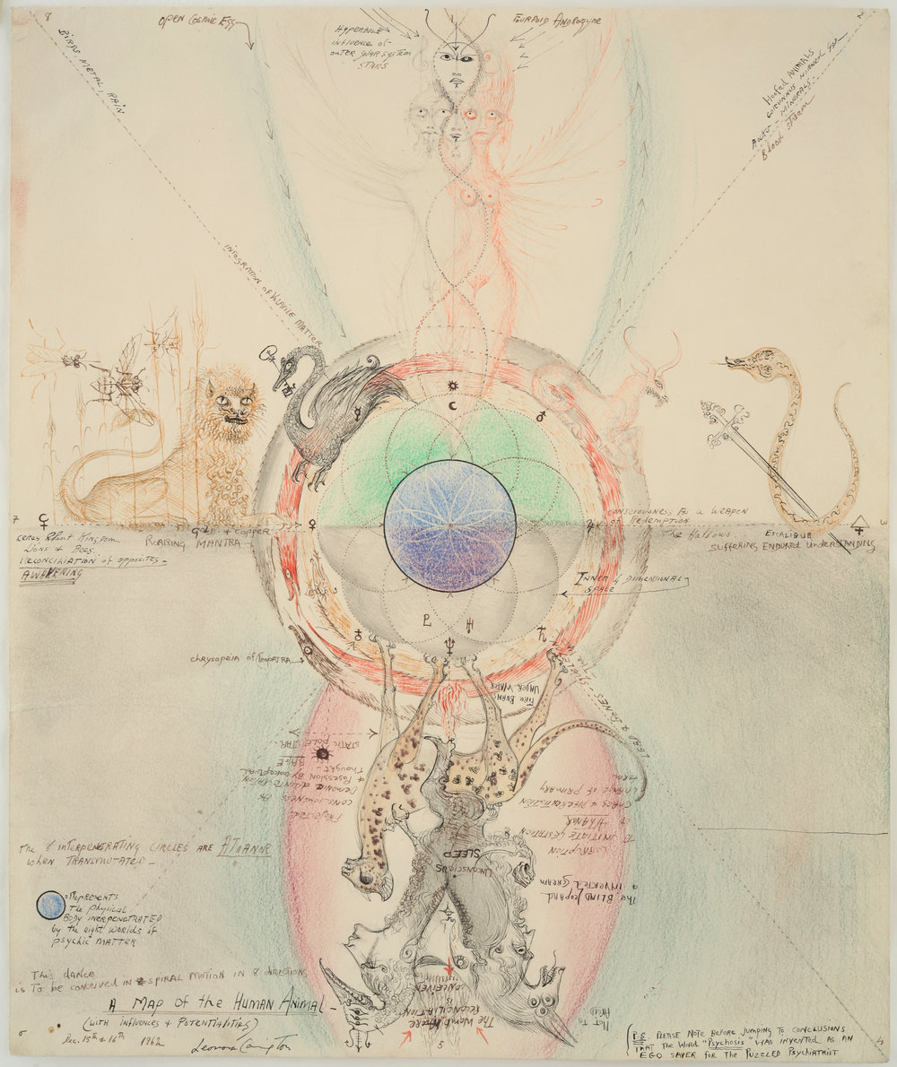 Leonora Carrington,  A Map of the Human Animal,  1962, Watercolor, ink and pencil on paper, 17 x 14 1/3 inches (43.6 x 36.5 cm)