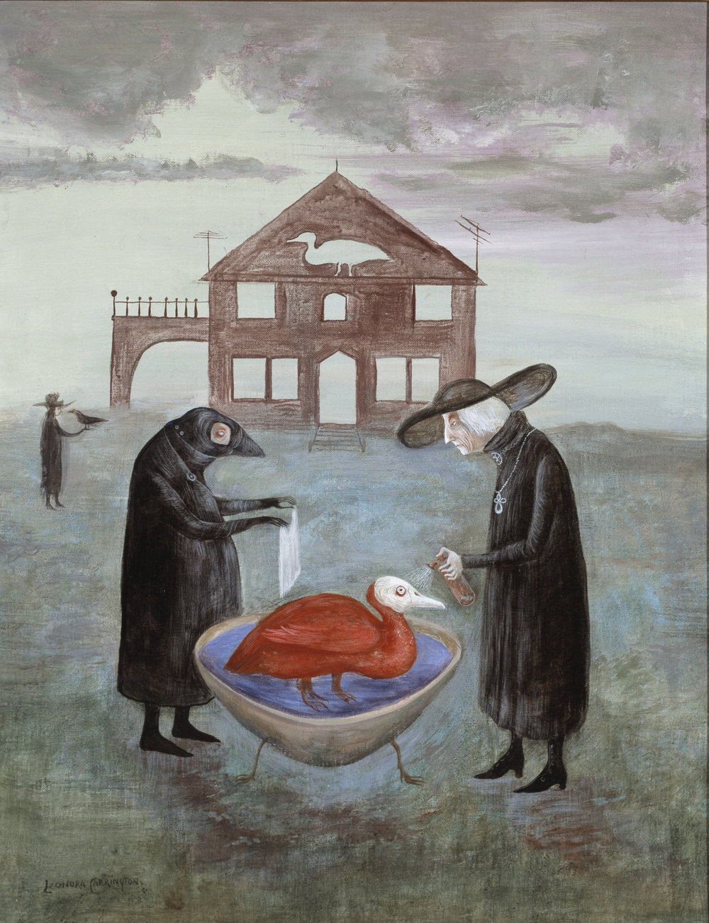 Leonora Carrington,  Bird Bath II,  1978, Acrylic on canvas board, 28 x 22 inches (71 x 56 cm)