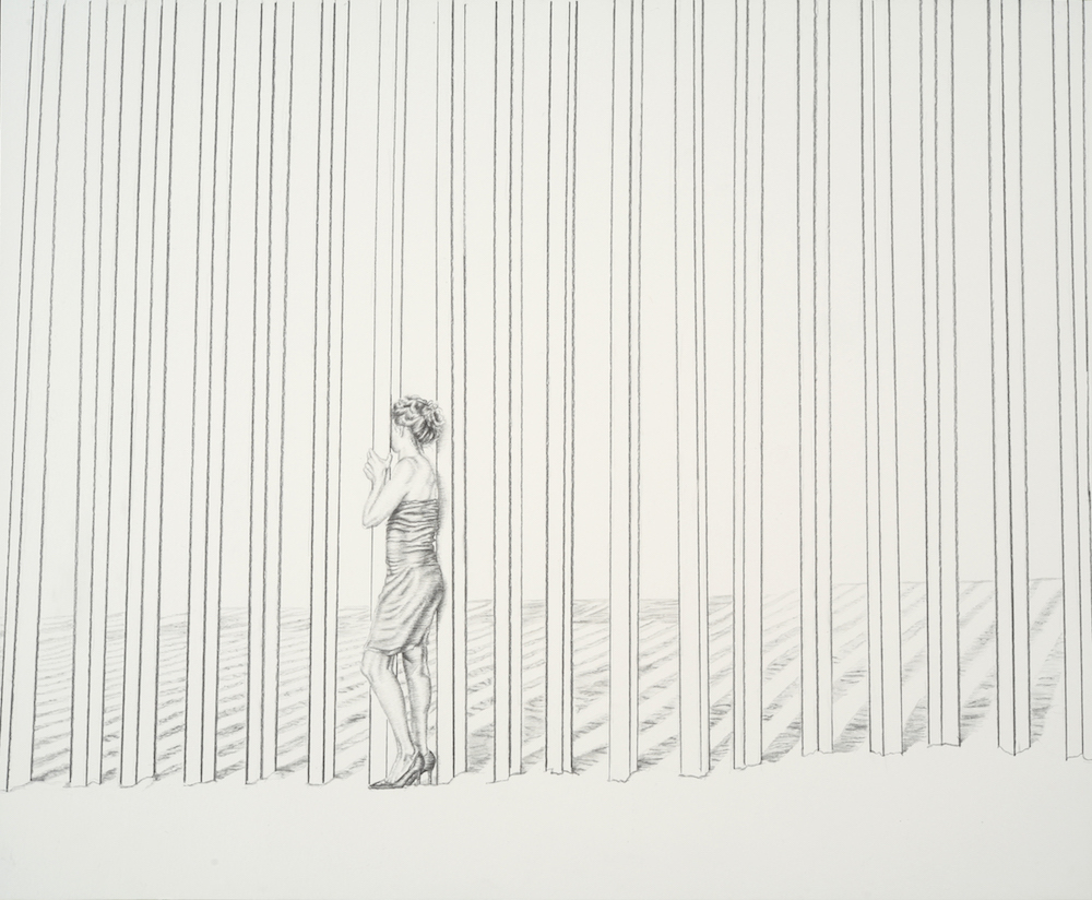 Ana Teresa Fernández,  Pasando (performance documentation),  2018, Graphite on paper, 14 x 17 inches (35.5 x 43.2 cm)
