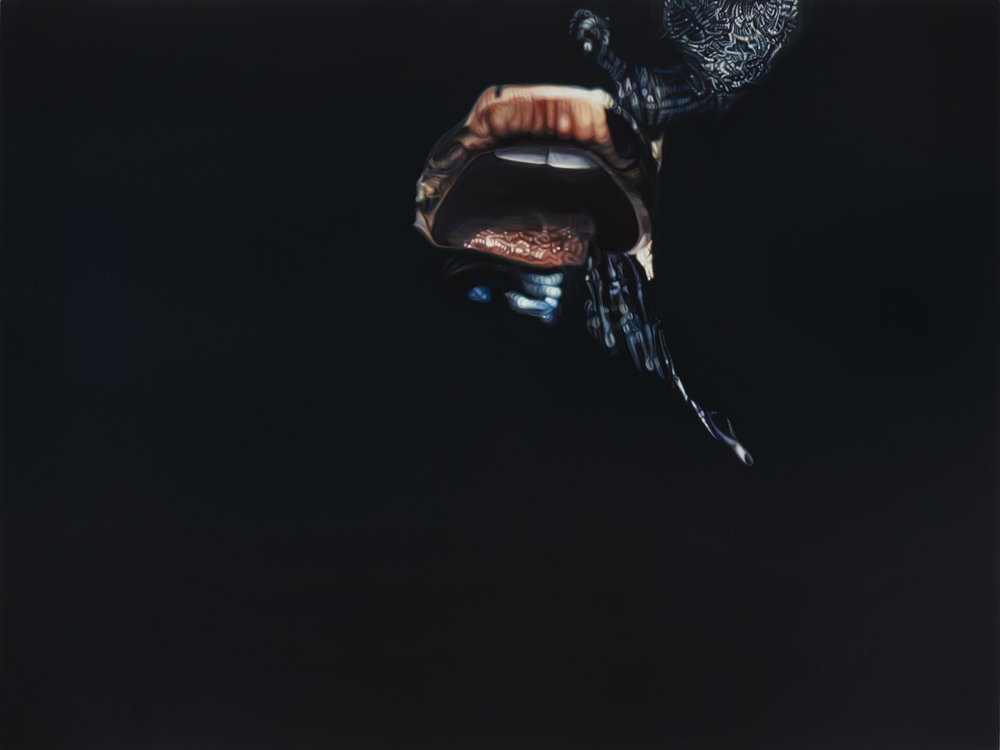 Ana Teresa Fernández,  Erasure 2 (performance documentation),  2016, Oil on canvas, 72 x 98 inches (183 x 249 cm)