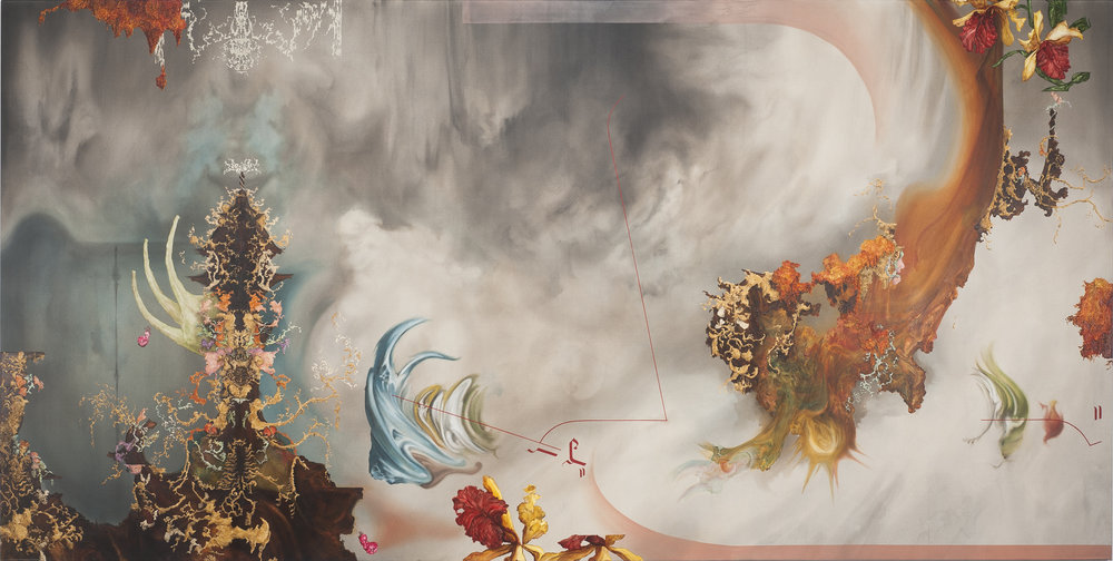 Eric Siemens,  A Settle in the Cornice Downs,  2018, Acrylic on canvas, 72 x 144 inches (182.9 x 365.8 cm)