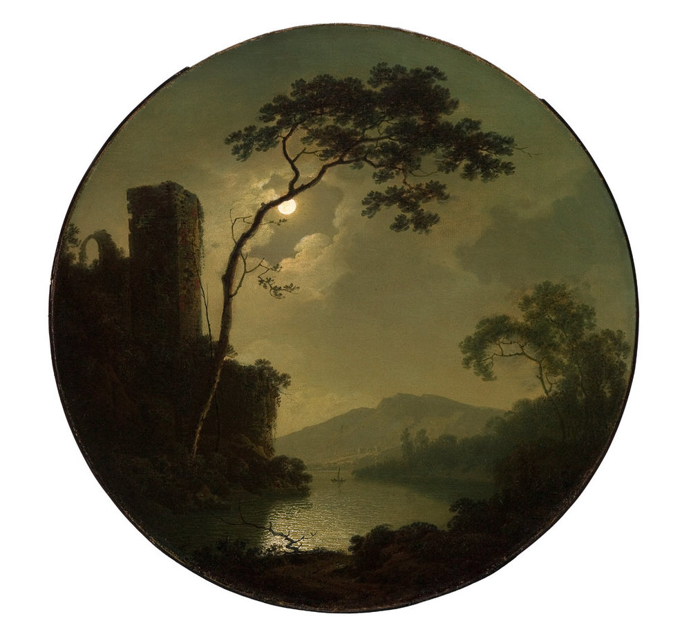 "Romantic painters like Joseph Wright of Derby were drawn to the quality of moonlight in nocturnal landscape paintings. His ""Lake with Castle on a Hill"" dates from 1787. Credit Saint Louis Art Museum"