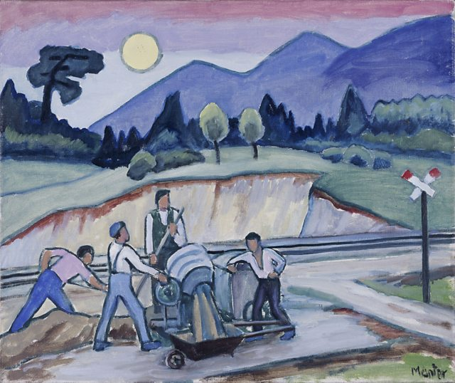 Construction site on the Olympiastraße, Gabriele Münter, 1935 | Photo: Municipal Gallery in Lenbachhaus, Munich Gabriele Münter and Johannes Eichner Foundation, Munich © VG Bild-Kunst, Bonn 2014
