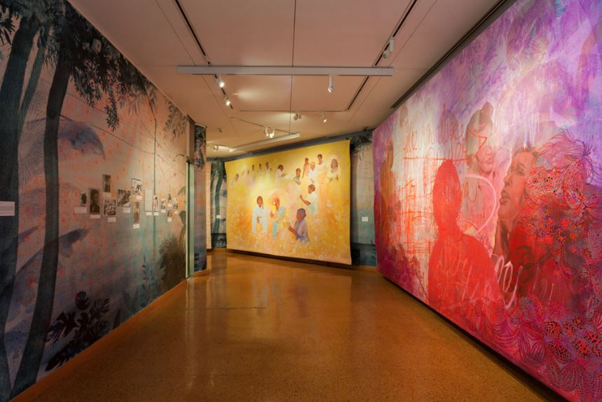 "Installation view of ""Firelei Báez: Joy Out of Fire"" at the Schomburg Center for Research in Black Culture. Image courtesy the Studio Museum in Harlem."