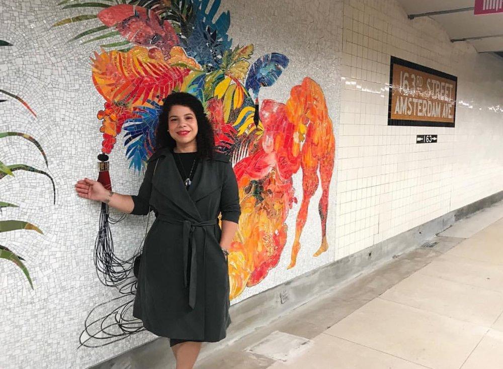 "Now on display at the 163 St-Amsterdam Av station (C): @FireleiB áez's glass mosaic artwork, ""Ciguapa Antellana, me llamo sueño de la madrugada. (who more sci-fi than us)"", fabricated by @mayerofmunich .  __  #Repost  @mtaartsdesign"