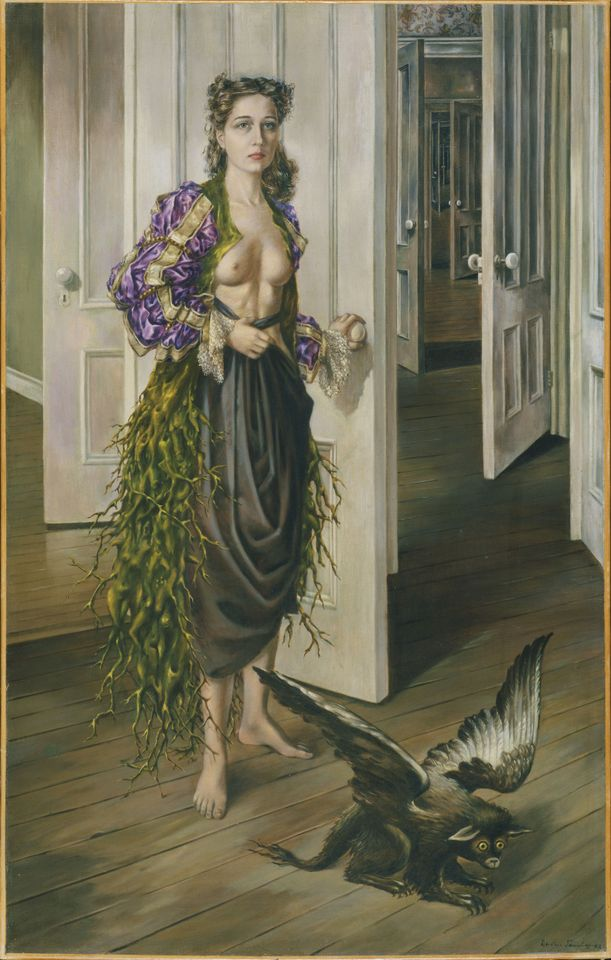 Tanning's self-portrait Birthday (1942) will be the first work visitors see in the exhibitionPhiladelphia Museum of Art, 125th Anniversary Acquisition. Purchased with funds contributed by C. K. Williams, II, 1999-50-1 © Artists Rights Society (ARS), New York