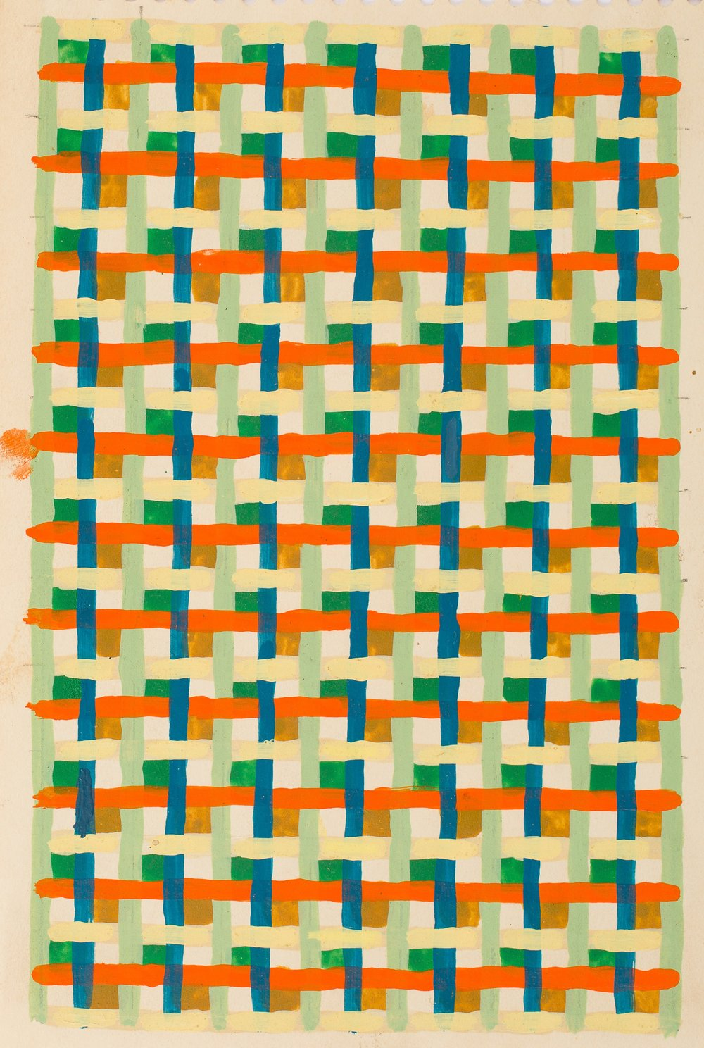 Peter Young,  Linear Weave Study,  1979, Acrylic on notebook paper, 8 3/4 x 5 3/4 inches (22.2 x 14.6 cm)