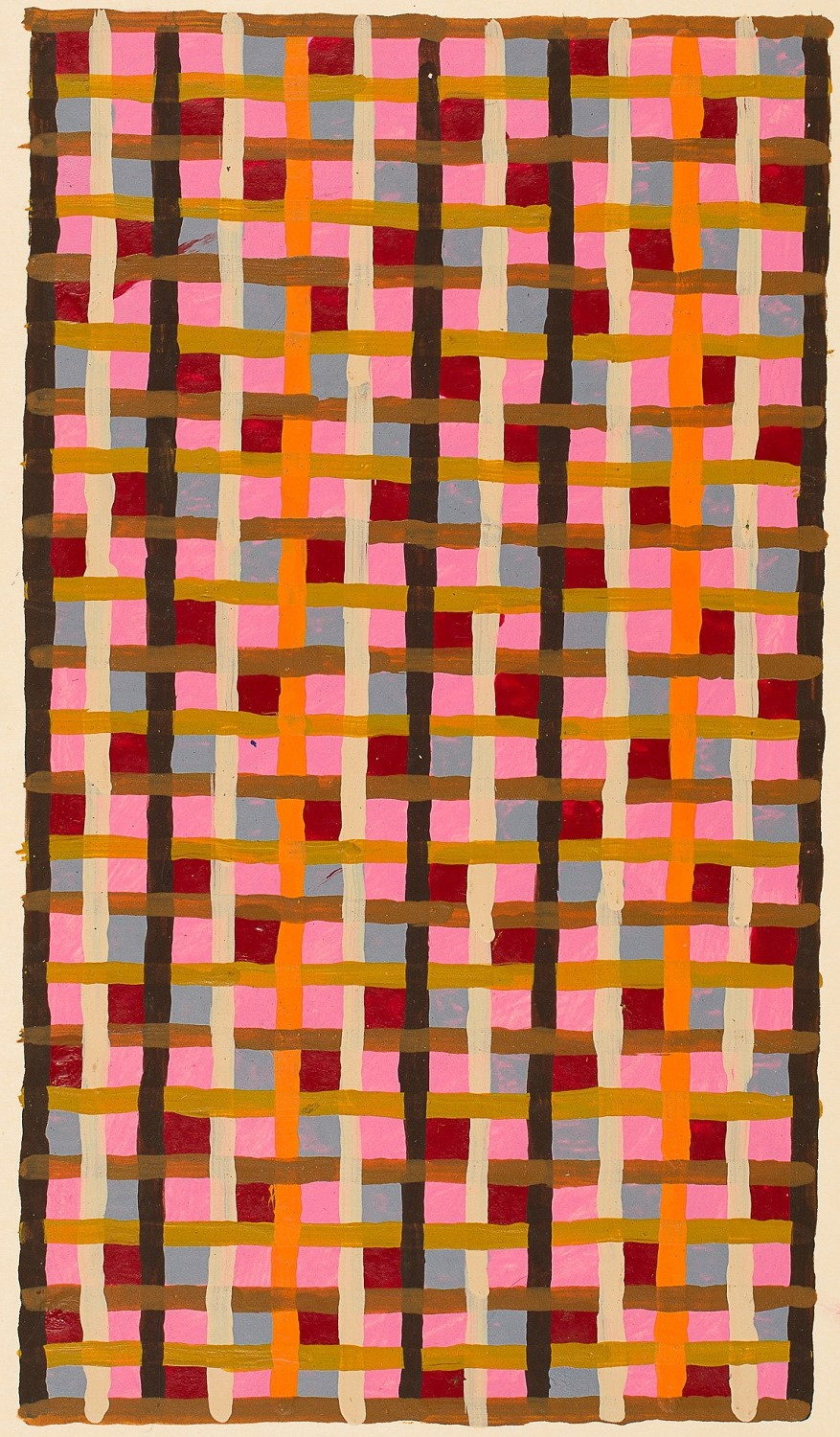 Peter Young,  Linear Weave Study,  1979, Acrylic on Manila folder, 4 5/8 x 9 1/4 inches (11.7 x 23.5 cm)