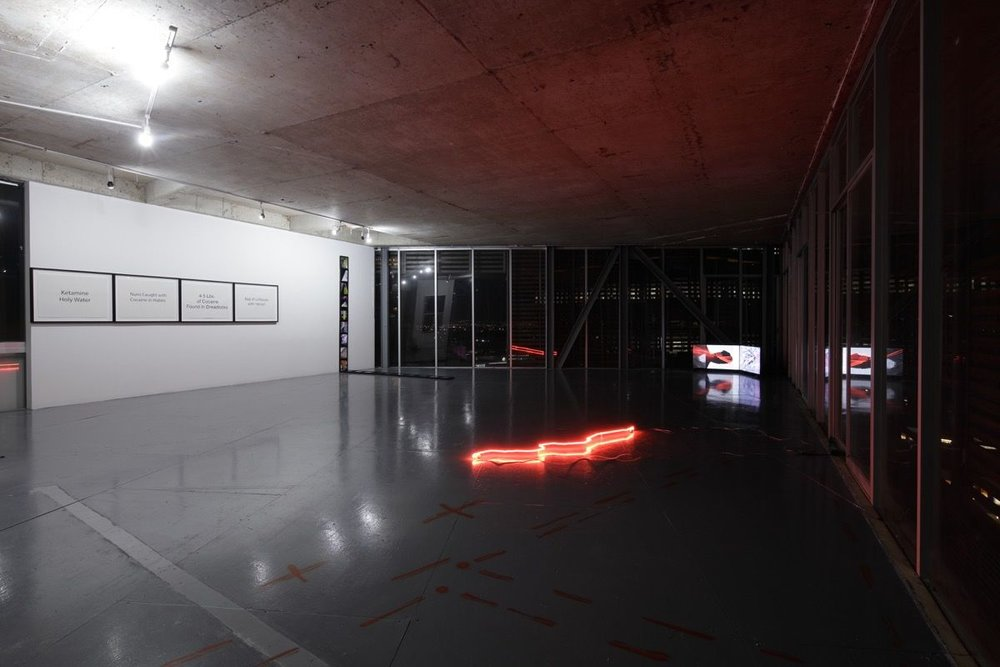 Installation view of Julio César Morales,  This World is Not For You , 2018, a solo offsite exhibition at Torre Cube, Guadalajara, Mexico. Courtesy of Gallery Wendi Norris.