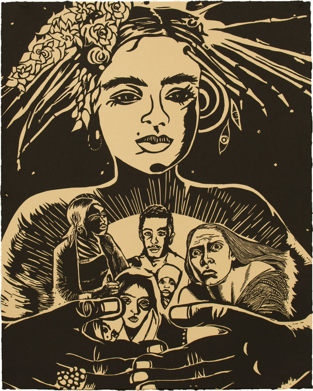 Chitra Ganesh,  Refugees and Queen , 2018, Linocut BFK Rives Tan, 280gsm, Edition of 35, 20 1/ 8 x 16 1/8 inches (51.1 x 41 cm)