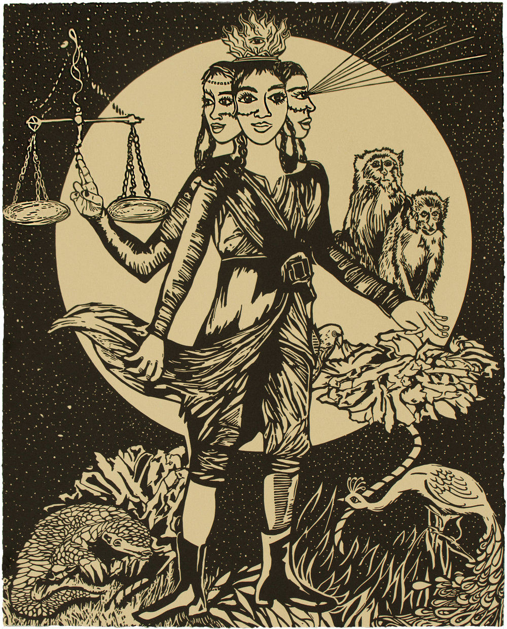 Chitra Ganesh,  Justice is Virtue , 2018, Linocut BFK Rives Tan, 280gsm, Edition of 35, 20 1/ 8 x 16 1/8 inches (51.1 x 41 cm)