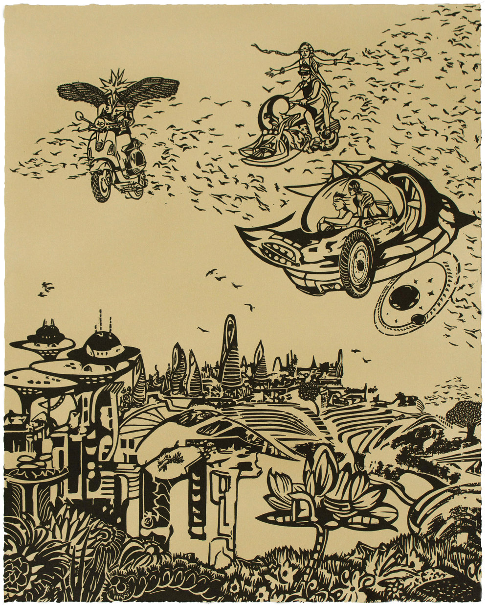 Chitra Ganesh,  Over the City , 2018, Linocut BFK Rives Tan, 280gsm, Edition of 35, 20 1/ 8 x 16 1/8 inches (51.1 x 41 cm)