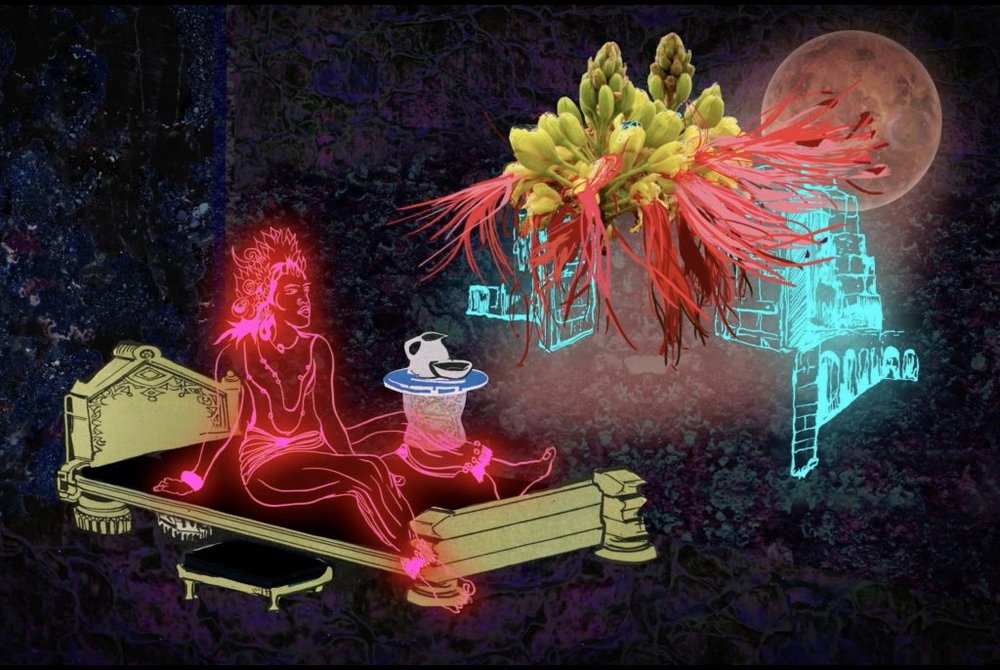 Chitra Ganesh. Still from  Rainbow Body  on display at the Rubin Museum of Art, New York, 2018. Digital Animation. Image courtesy of the artist