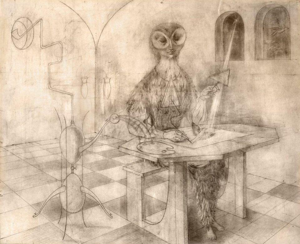 """Remedios Varo,  Sin título (Bosquejo de la """"Creación de las Aves"""") , 1957IMAGE COURTESY OF MUSEO DE ARTE MEXICO   EL INSTITUTO NACIONAL DE BELLAS ARTES (MEXICO CITY.)"""