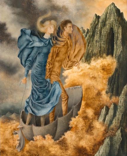 """Remedios Varo, La Huida (The Escape), 1961, oil on canvas, 48 1/2 x 38 1/2""""."""