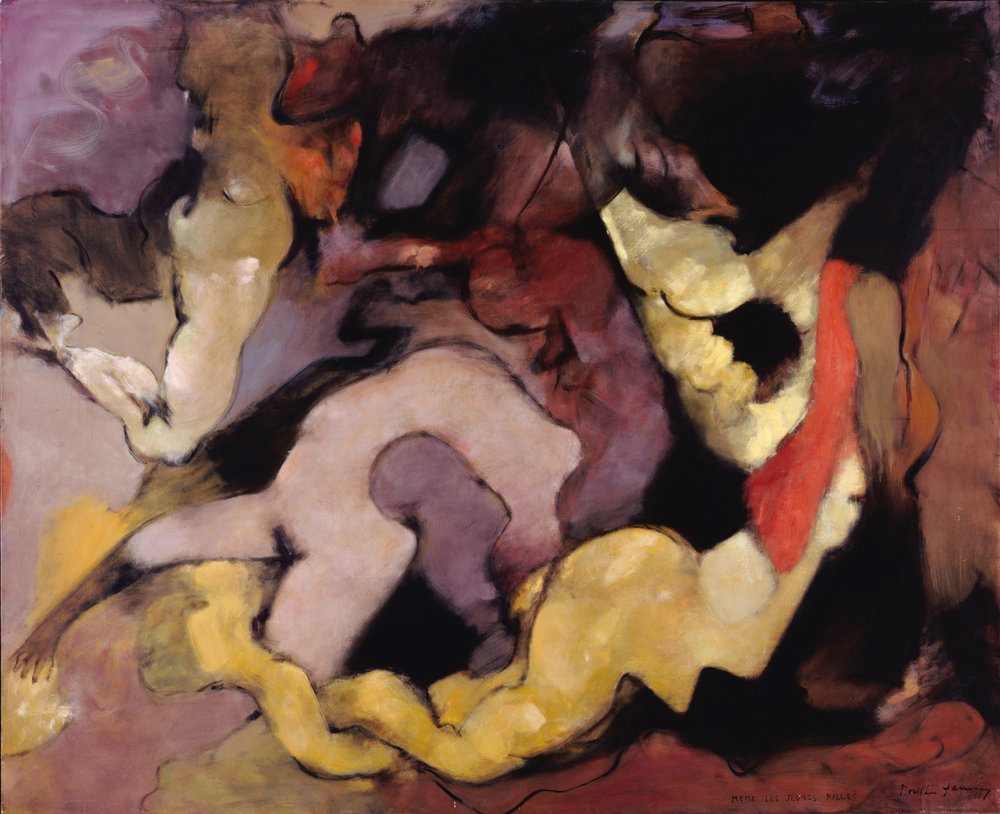 Dorothea Tanning ,  Même les jeunes filles (Even the Young Girls) , 1966, 65 1/4 x 80 1/4 inches (166 x 204 cm)