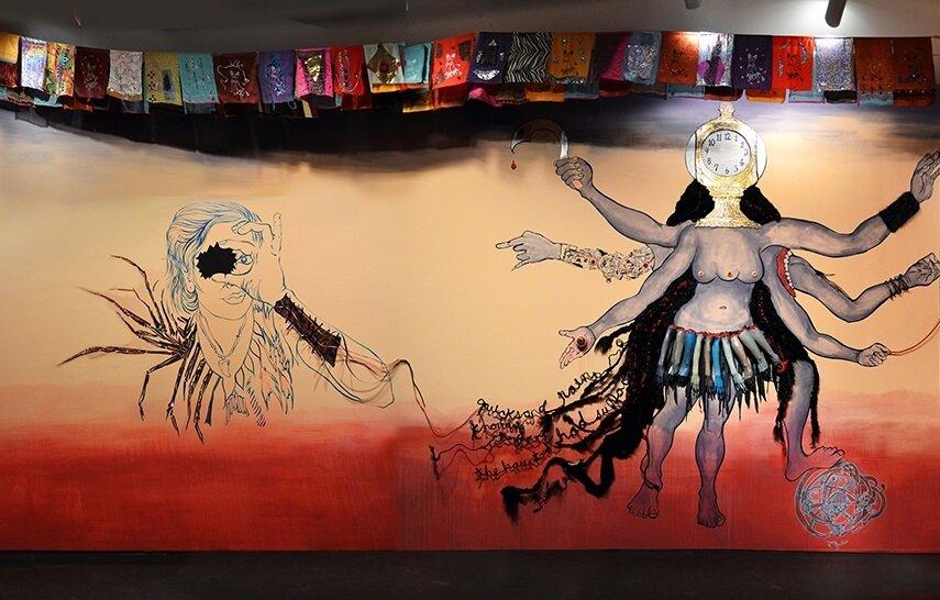 Chitra Ganesh: Eyes of Time , 2015, Mixed media wall mural, Installation view, Brooklyn Museum New York, NY