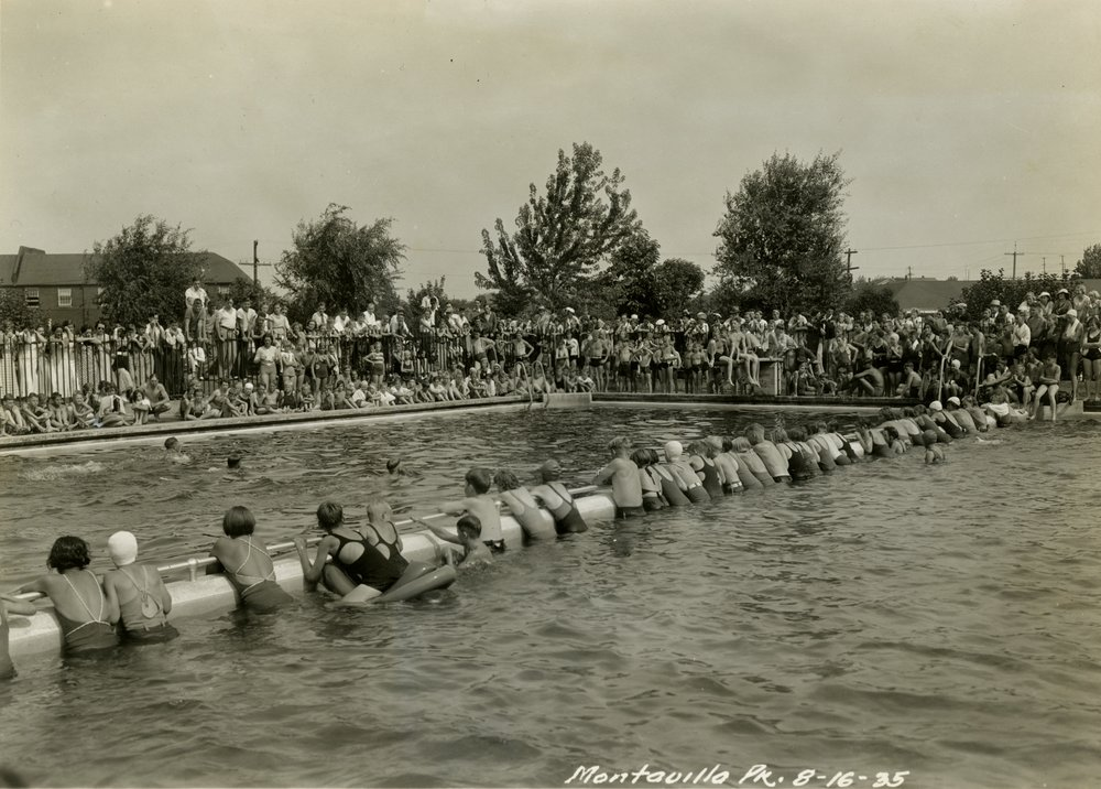 Public Works Administration (Archival) - Public Works - Public Works Relief Projects - A2000-025.1035   Huge group of children in pool at Montavilla Pk for recreational program.JPG
