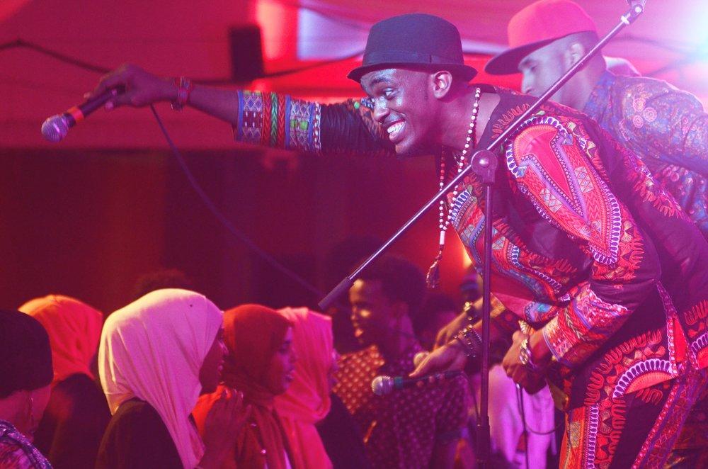 Dalmar Yare of Waayaha Cusub performing in Mankato.jpg