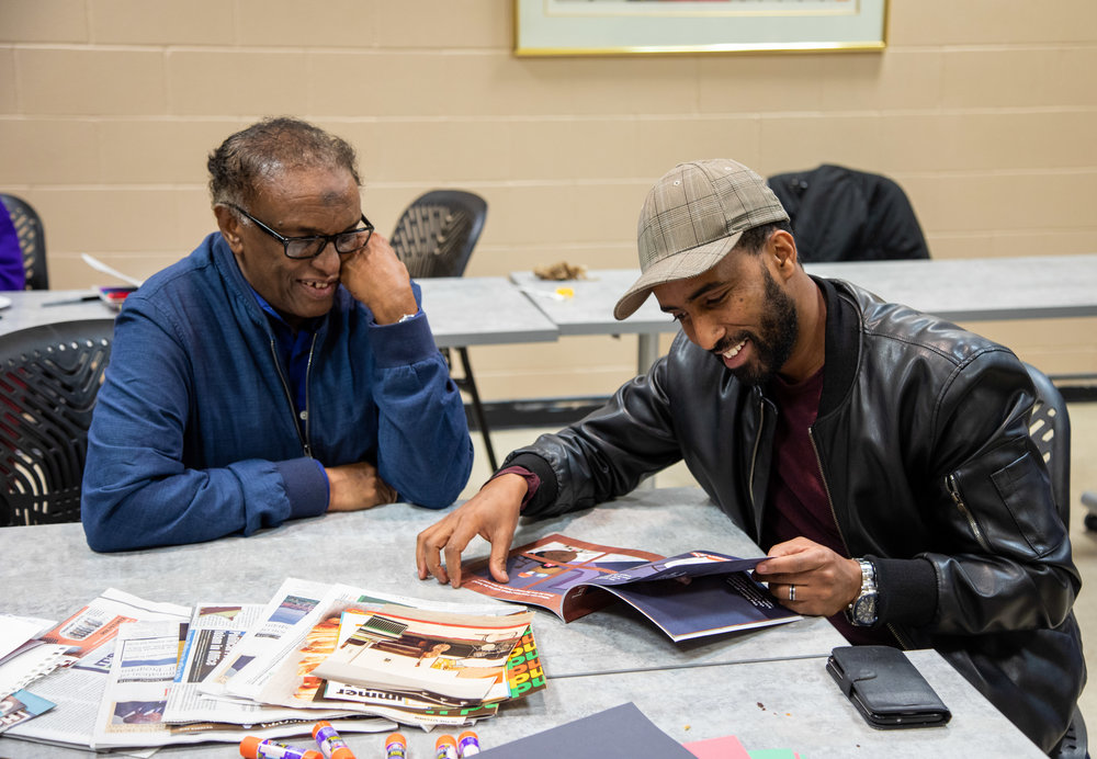 Aar Maanta  (R) and  Professor Said Salah  (L) connect at an illustration workshop for the album.