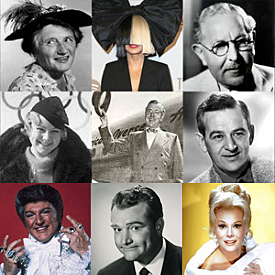 Pictured - (Left to Right from Top): Marjorie Main, Sia Furler, Max Factor, Sonja Henie, Dr. Schols, William Wyler, Liberace, Red Skelton and Ava Gardner.