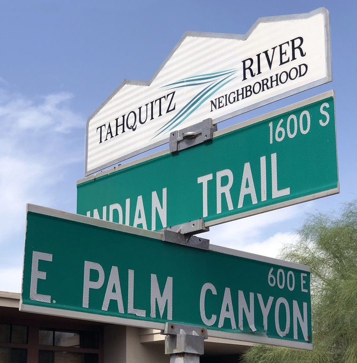 Tahquitz River neighborhood blade sign
