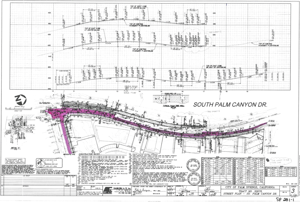 (CLICK TO ENLARGE) — The construction plan shows in pink shading the work to be undertaken.