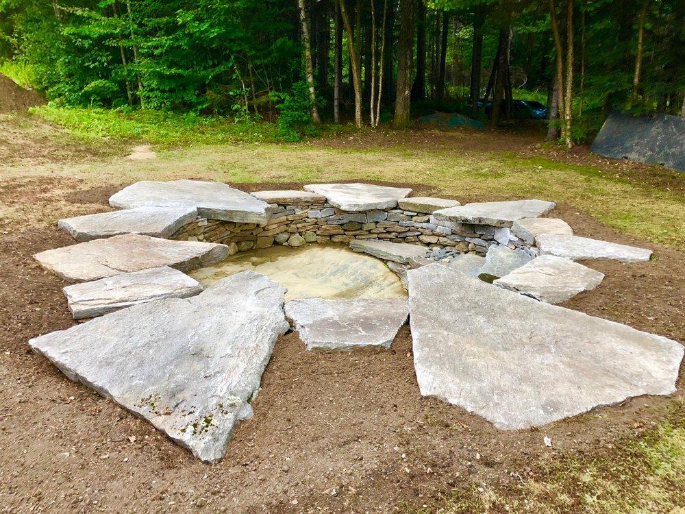 FIRE FORAMEN, Dan Snow, fire place, fire circle, bedrock fire chasm, schist slabs, 11 ft diameter, Marlboro, VT, 2018.