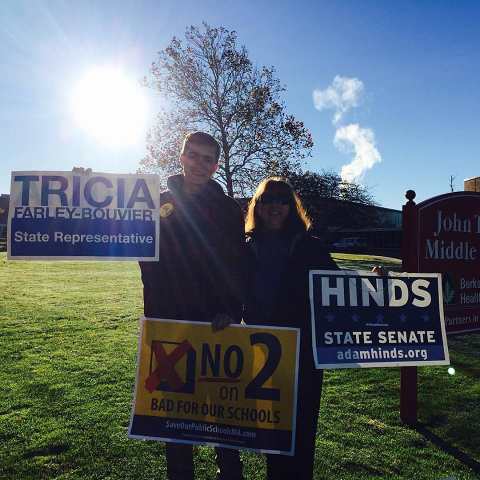 Casey campaigning with State Rep. Tricia Farley-Bouvier against the charter schools ballot question and for Hinds (and Rep. Farley-Bouvier, of course!).