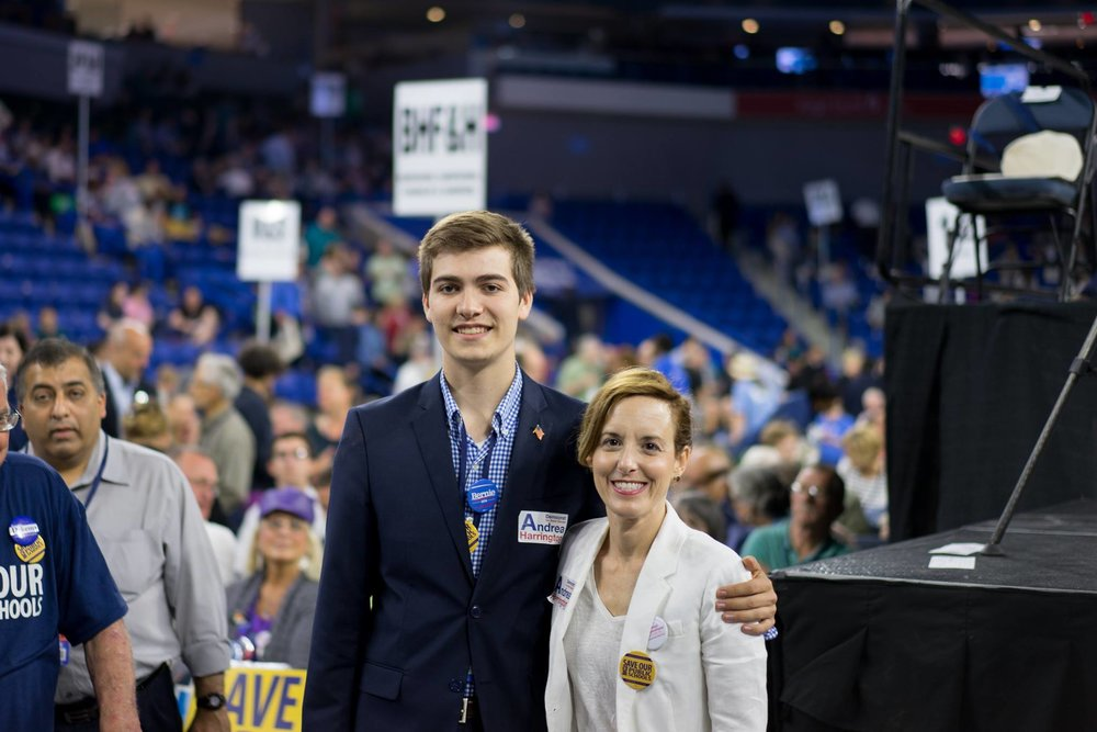 Casey served as campaign manager for Andrea Harrington's state senate campaign after Ben Downing retired. Here they are at the 2016 Massachusetts Democratic Convention, one of many times Casey has been a delegate.
