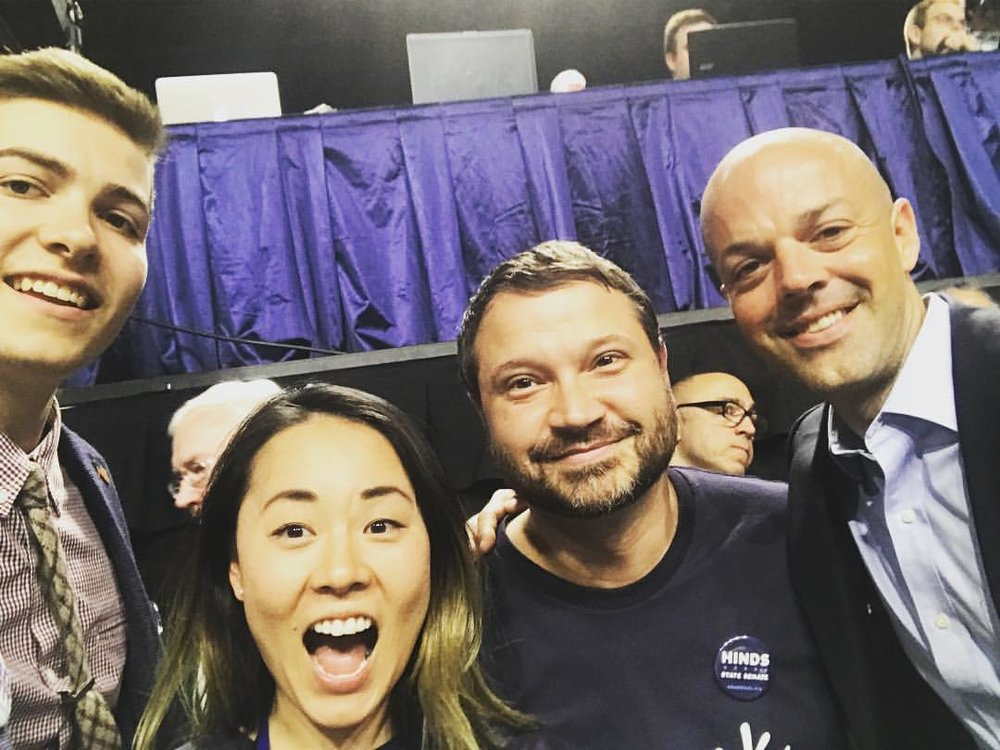 Ultimately, Adam Hinds won the Democratic nomination for state senator for Downing's seat, but the two are on more than good terms. Here they are at the 2017 Massachusetts Democratic Convention, when Casey was again a delegate, with Councilors Helen Moon and Pete White.