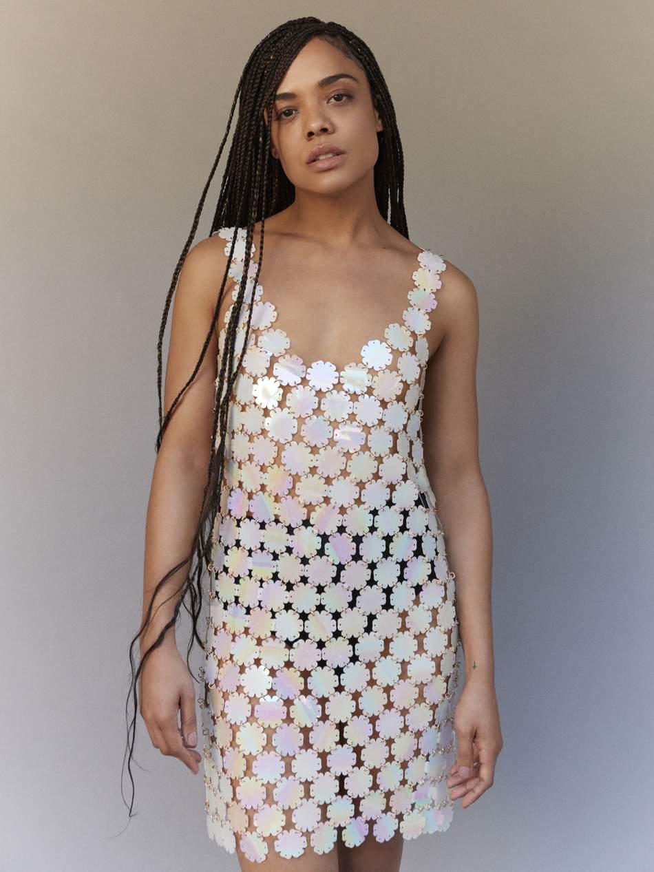 Dress: Paco Rabanne; briefs: Baserange