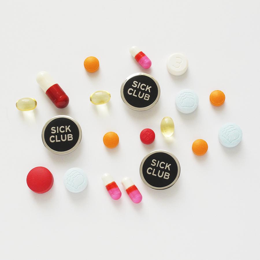 """""""Sick Club"""" enamel pin,  $10"""