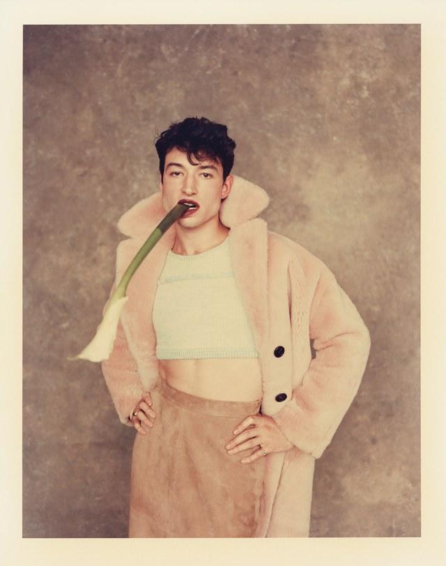 Coat: Mansur Gavriel ($2,750); sweater crop-top: Eckhaus Latta ($395); skirt: Billy Reid ($1,295)