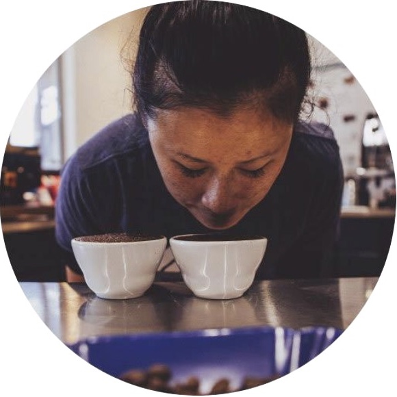 Khanh Trang, licensed Q-Grader and co-owner of Greater Goods Coffee in Austin, TX